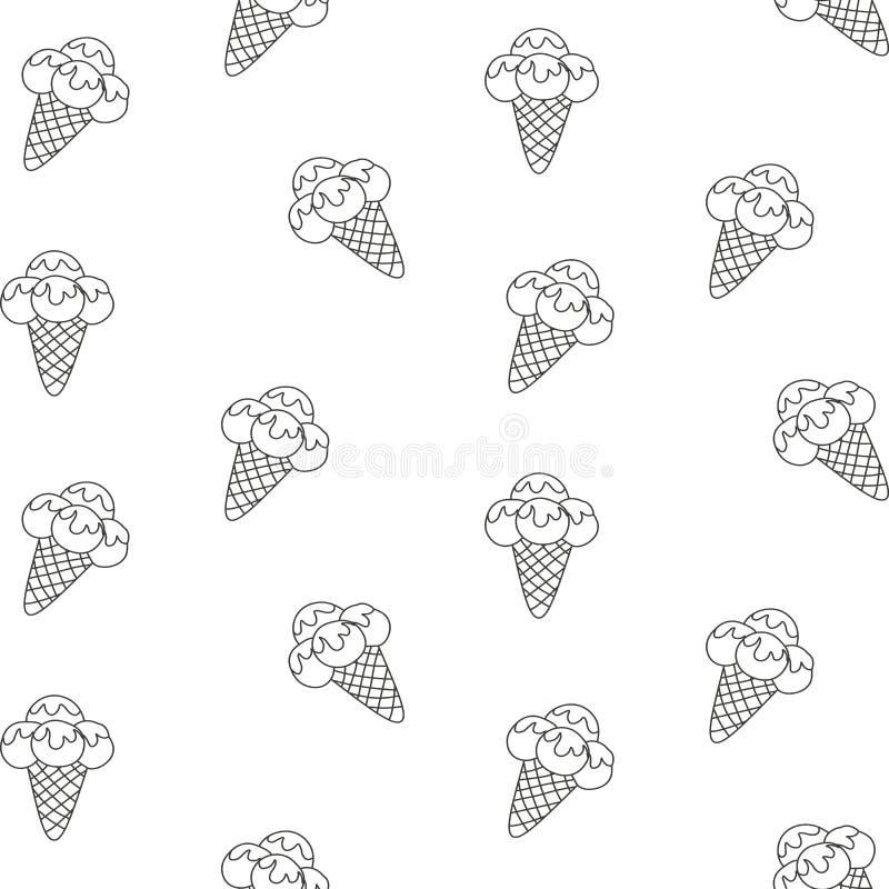 De vectorillustratie eps 10 van het patroonroomijs Achtergrond van het dessert van het textuurroomijs Naadloze Achtergrond Vector royalty-vrije illustratie