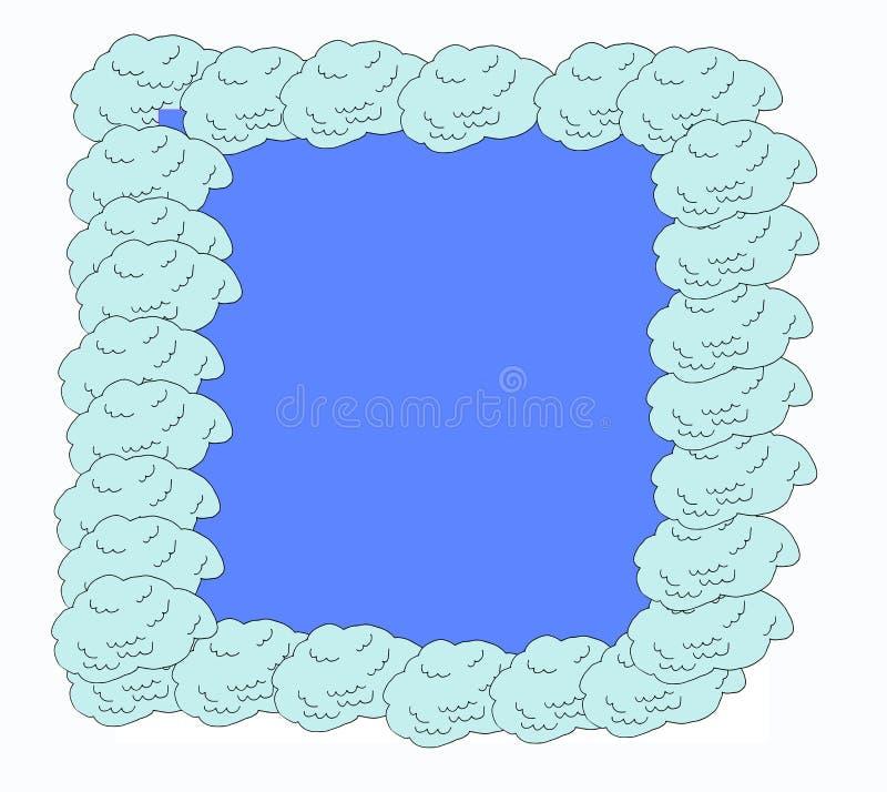 De vectorillustratie, hand getrokken schetswolken in bel geeft Krabbel kader-kader met exemplaarruimte van gestalte wolken op bla stock illustratie