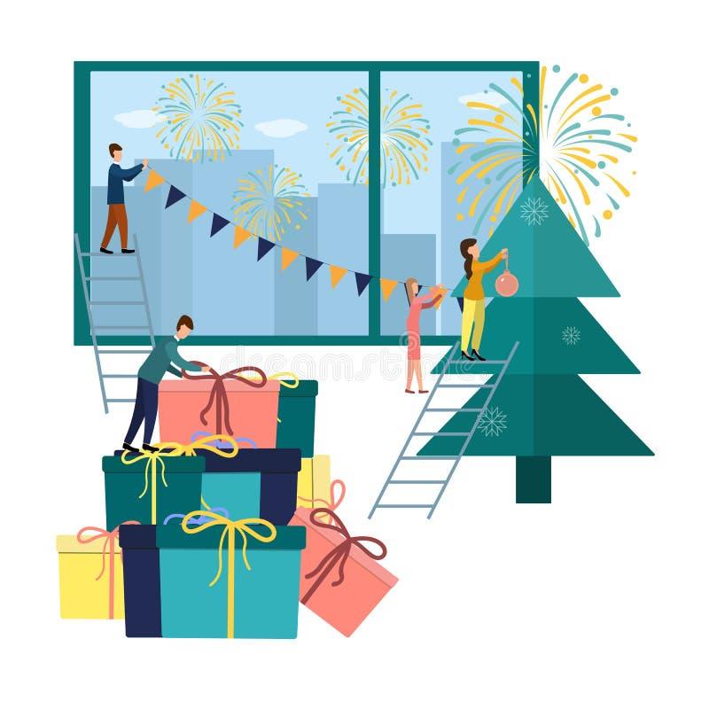De vectorillustratie kleine mensen treffen voor het nieuwe jaar voorbereidingen, zijn bezig geweest met decoratie, collectief in  royalty-vrije illustratie
