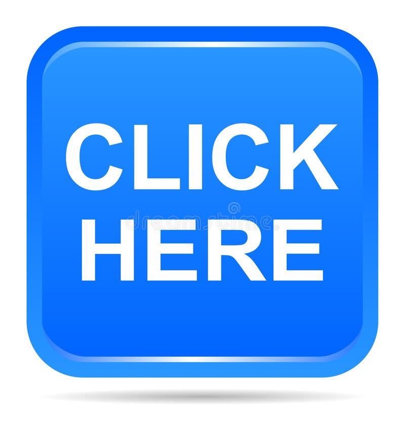 De vectorillustratie klikt hier de blauwe knoop van het pictogram vierkante Web royalty-vrije illustratie