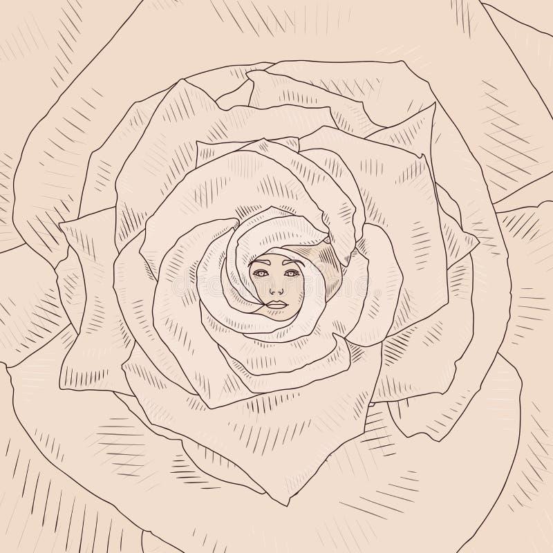De vectorillustratie met abstract beeldverhaal nam toe stock illustratie