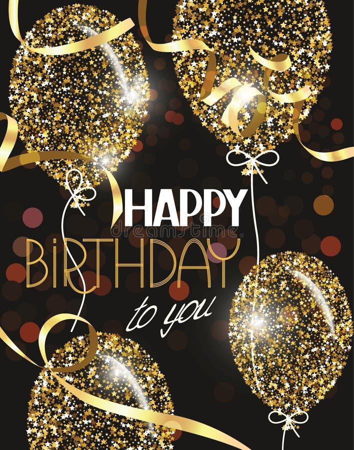 De vectorillustratie met abstracte gouden luchtballons met sterren en Gelukkige Verjaardag wenst dit stock illustratie