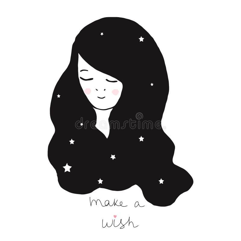 De vectorillustratie met een mooi meisje met een lang haar maakt een wens royalty-vrije illustratie