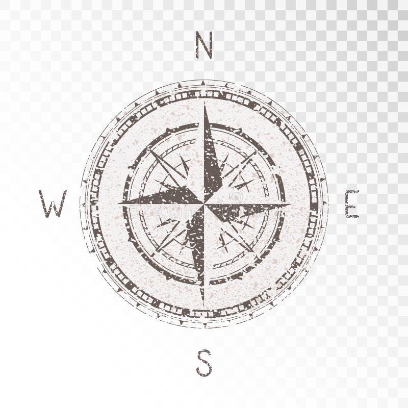 De vectorillustratie met een uitstekende geweven kompas of een wind namen en grunge de textuurelementen op transparante achtergro stock illustratie