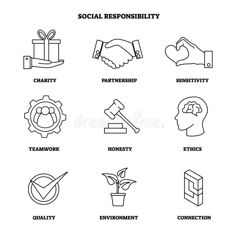 De vectorillustratie met sociale verantwoordelijkheid schetst pictogramreeks Inzameling met liefdadigheid en ethieksymbolen Bedri vector illustratie