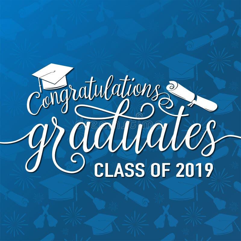 De vectorillustratie op naadloze graduatiesgelukwensen als achtergrond behaalt de klasse van 2019 van een diploma, wit teken voor royalty-vrije illustratie
