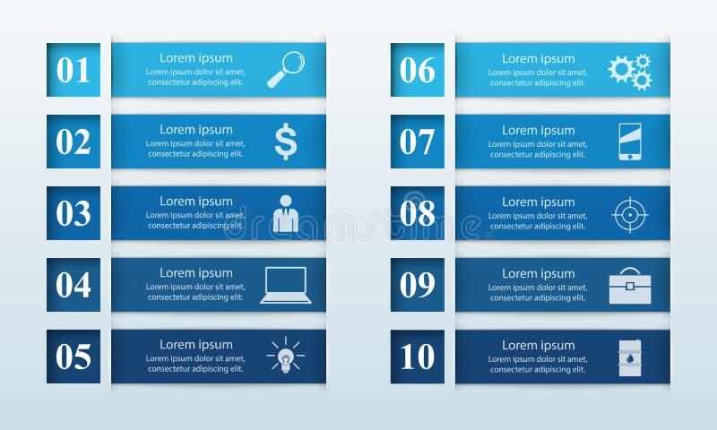 De Vectorillustratie origamistijl van de de bedrijfs van Infographics Lijst van 10 punten royalty-vrije stock fotografie