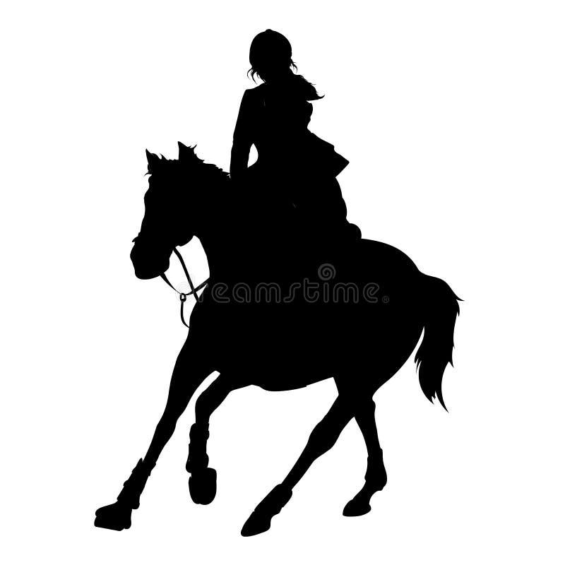 De vectorillustratie, ruiter controleert het lopen paard, de concurrentiedressuur vector illustratie