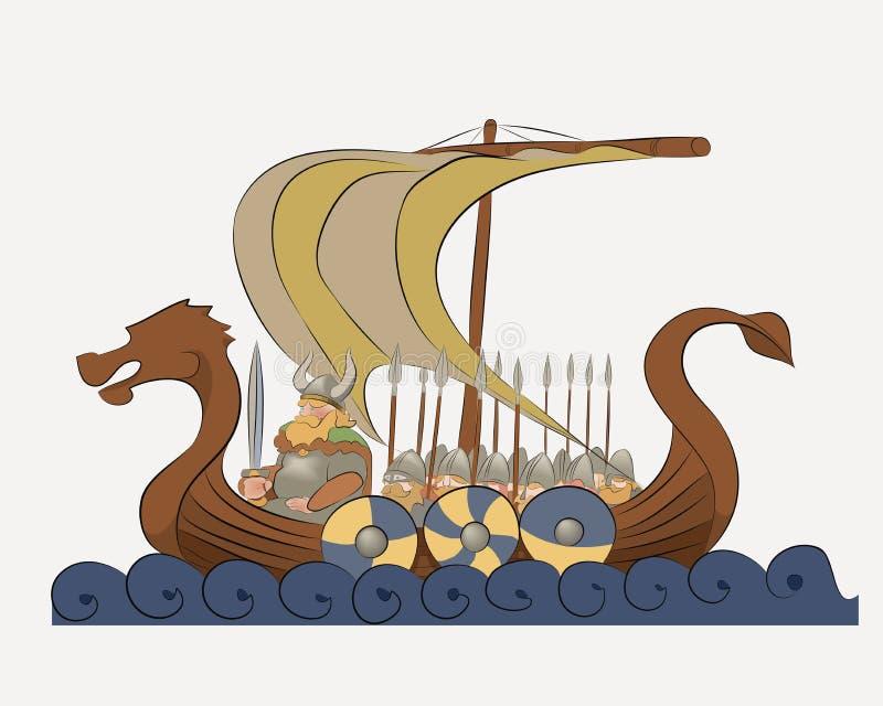 De vectorillustratie schildert een Viking-oorlogsschip af stock illustratie