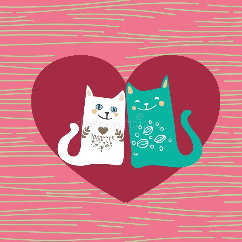 De vectorillustratie trekt het paarliefde van het karakterontwerp van kat in valentijnskaartdag en woordliefde royalty-vrije illustratie