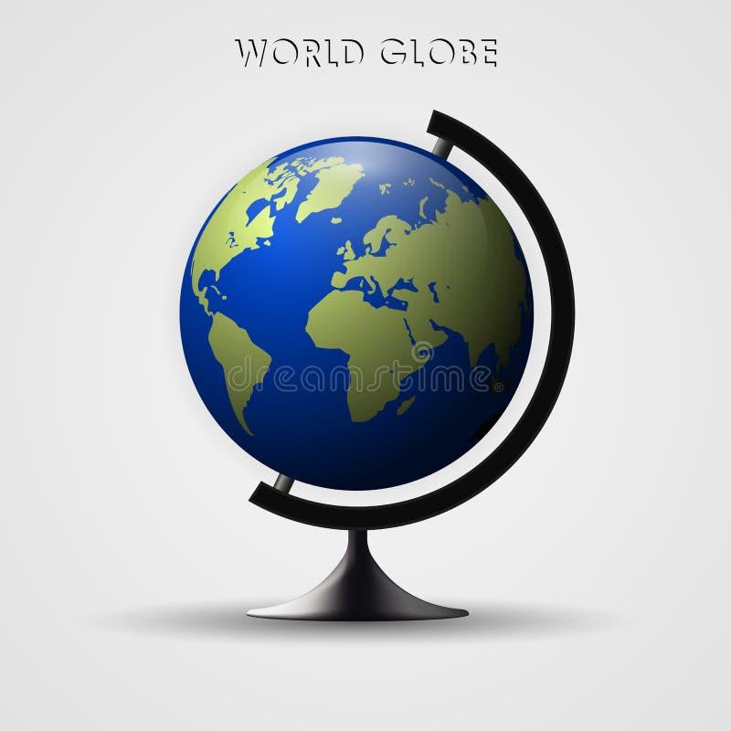 De vectorillustratie van de aardebol 3d planeetpictogram De kaart van de wereld stock illustratie