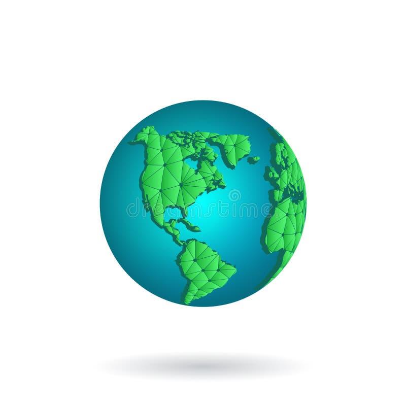 De vectorillustratie van de Aardeplaneet Het groene pictogram van de Wereldbol dat op witte achtergrond wordt geïsoleerd vector illustratie