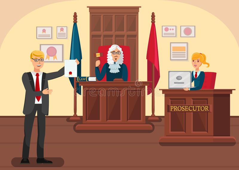 De Vectorillustratie van advocaatproviding evidence flat royalty-vrije illustratie