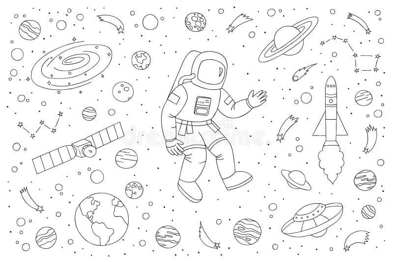 De vectorillustratie van de astronautenkrabbel met verschillende kosmische voorwerpen stock illustratie