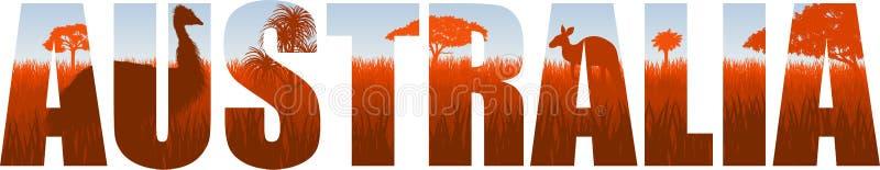 De vectorillustratie van Australië met struisvogelemoe en kangoeroe vector illustratie