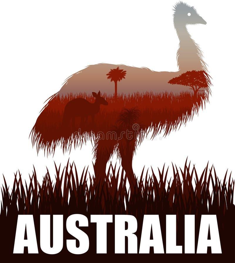 De vectorillustratie van Australië met struisvogelemoe en kangoeroe in woestijn stock illustratie