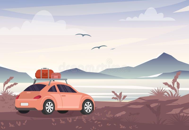 De vectorillustratie van auto met reis doet dichtbij meer en bergen in zakken Wegreis, vakantieconcept in vlakke stijl vector illustratie
