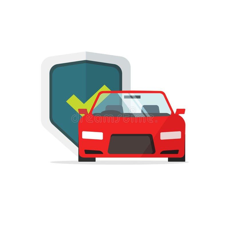 De vectorillustratie van de autobescherming, vlakke beeldverhaalauto met beschermd schild en controleteken, concept auto vector illustratie