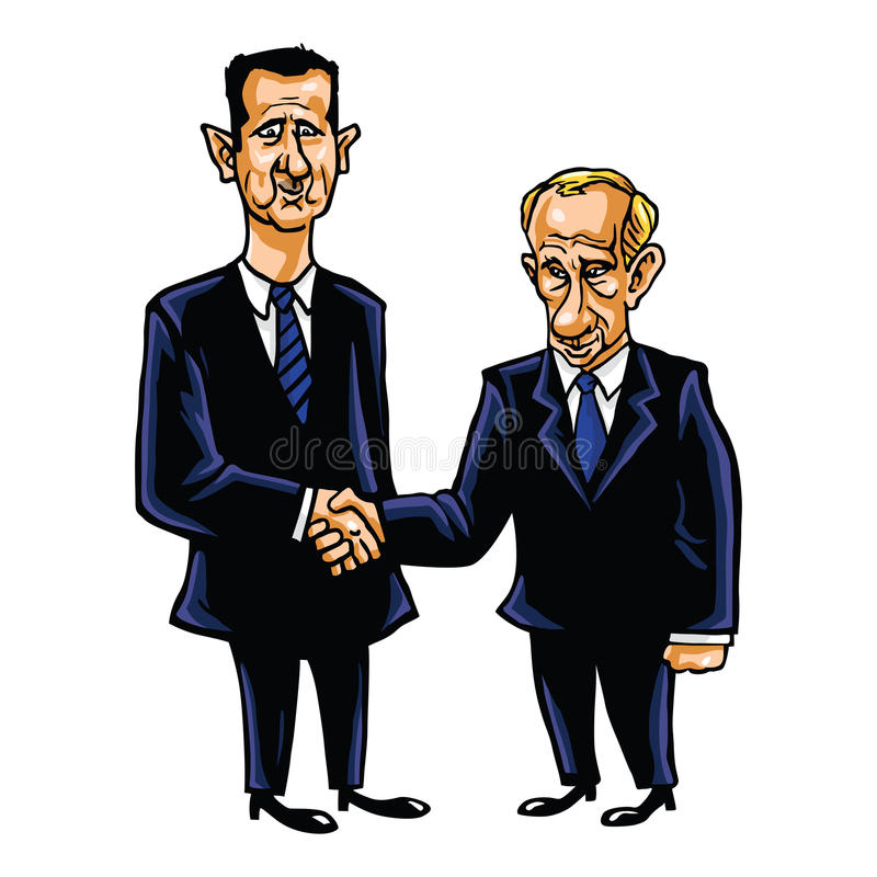 De Vectorillustratie van Bashar Al-Assad With Vladimir Putin Cartoon stock illustratie