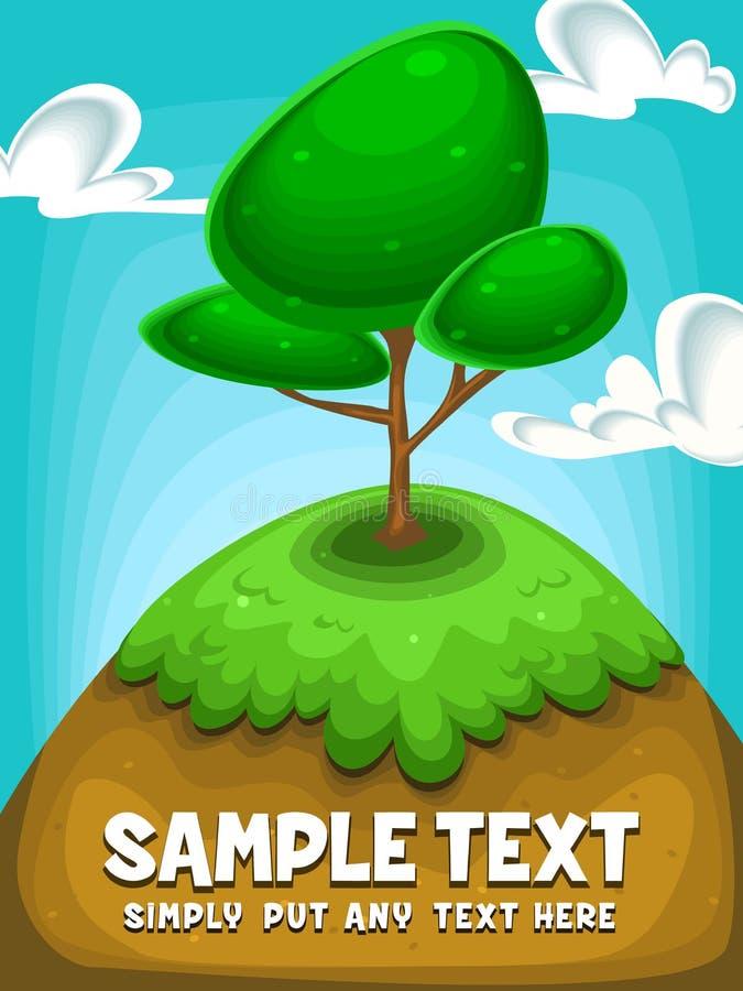 De vectorillustratie van de beeldverhaalboom bij heuvel met duidelijke hemel en wolk in buitensporige illustratie stock illustratie