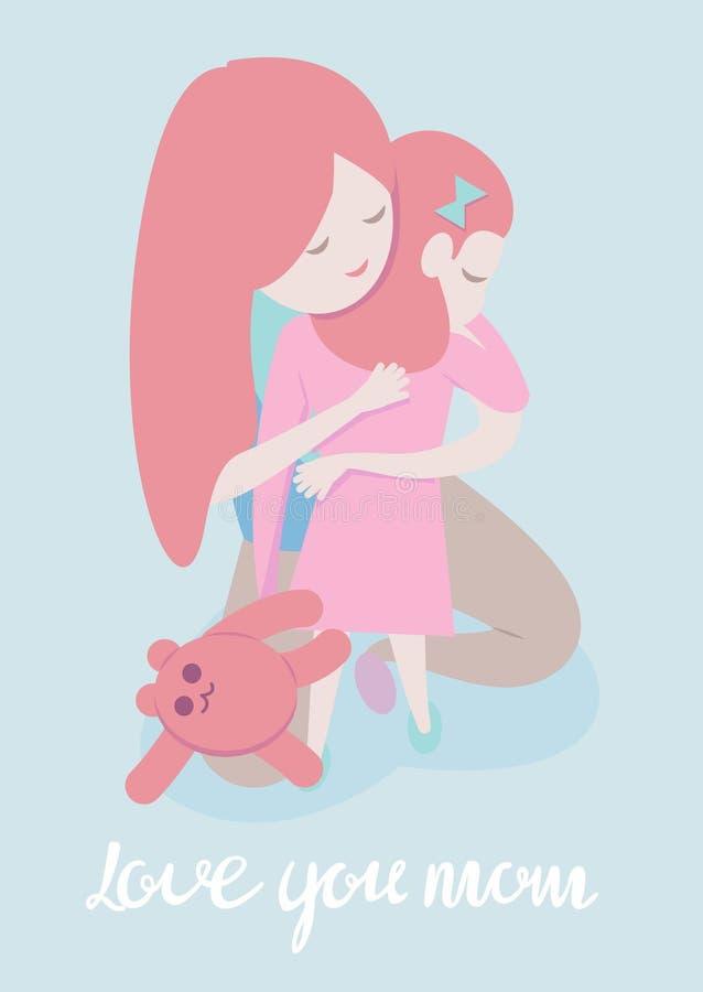 De vectorillustratie van de beeldverhaalstijl van moeder die dochter koesteren De kaartmalplaatje van de Moederdaggroet op blauwe royalty-vrije illustratie