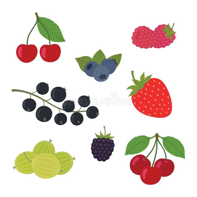 De Vectorillustratie van de bessenreeks Aardbei, Blackberry, Bosbes, Kers, Framboos, zwarte bes, Kruisbes vector illustratie