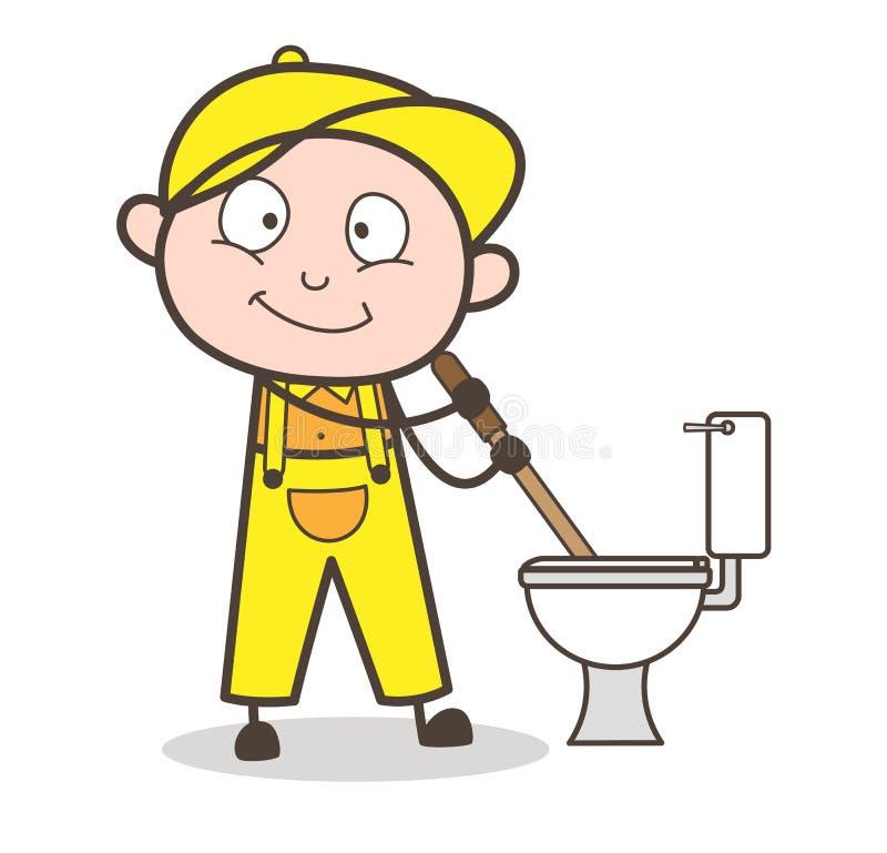De Vectorillustratie van Cleaning Toilet Seat van de beeldverhaalloodgieter stock illustratie
