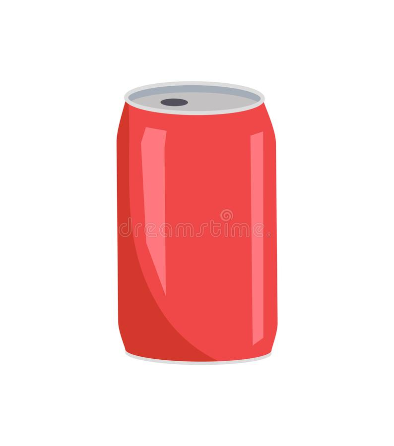 De Vectorillustratie van Coca Cola Red Can Closeup stock illustratie