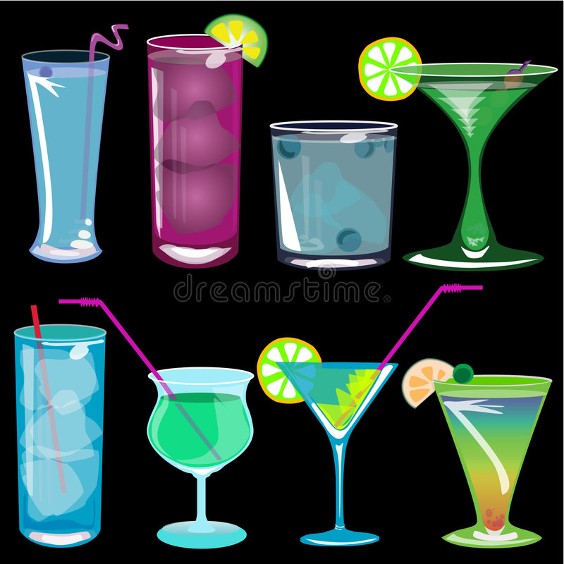 De vectorillustratie van cocktails stock illustratie