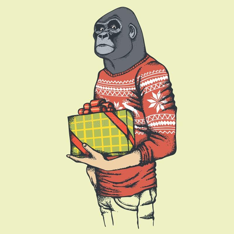 De vectorillustratie van de aapgorilla royalty-vrije illustratie
