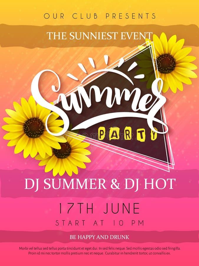 De vectorillustratie van de affiche van de de zomerpartij met driehoekskader en zonnebloem bloeit en hand van letters voorziende  stock illustratie