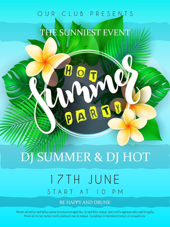 De vectorillustratie van de affiche van de de zomerpartij met rond kader, het bloeien plumeria bloeit, tropische bladeren en hand stock illustratie