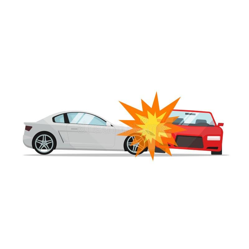 De vectorillustratie van de autoneerstorting, twee auto'sbotsing, autoongevallenscène royalty-vrije illustratie
