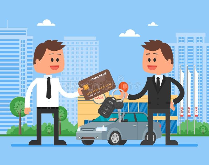 De vectorillustratie van de autoverkoop Klant het kopen auto van handelaarsconcept Verkoper die sleutel geven aan nieuwe eigenaar royalty-vrije illustratie