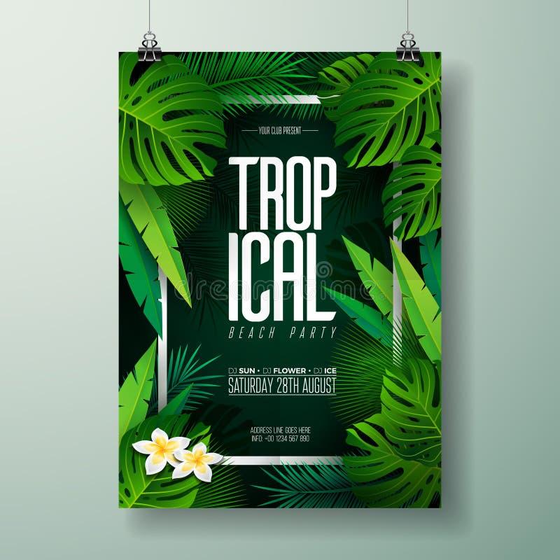 De vectorillustratie van de de Partijvlieger van het de Zomerstrand met typografisch ontwerp op aardachtergrond met palmbladen royalty-vrije illustratie