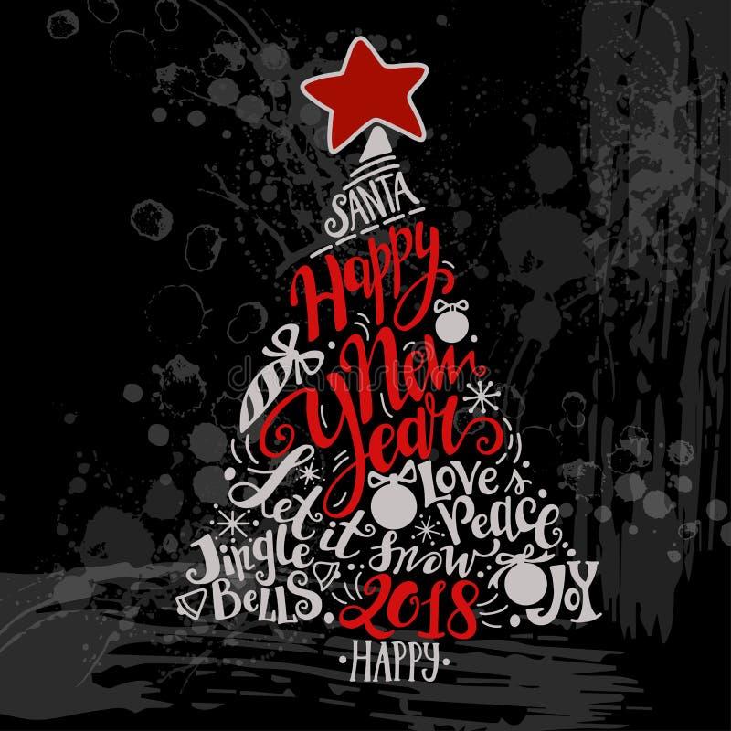 De vectorillustratie van de de Wintervakantie De boom van het Kerstmissilhouet met groet het van letters voorzien royalty-vrije illustratie