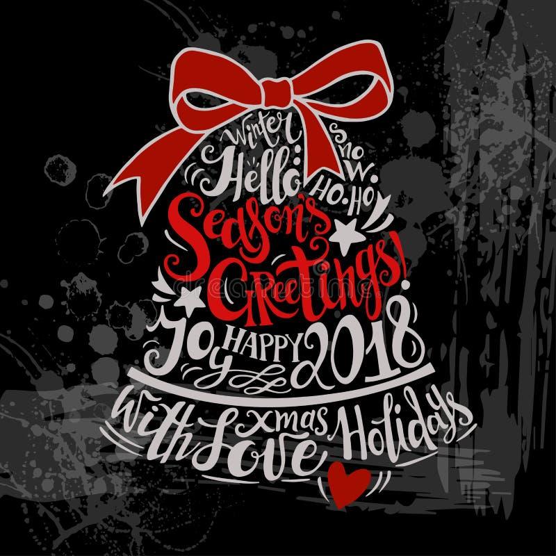 De vectorillustratie van de de Wintervakantie De klok van het Kerstmissilhouet met groet het van letters voorzien stock illustratie