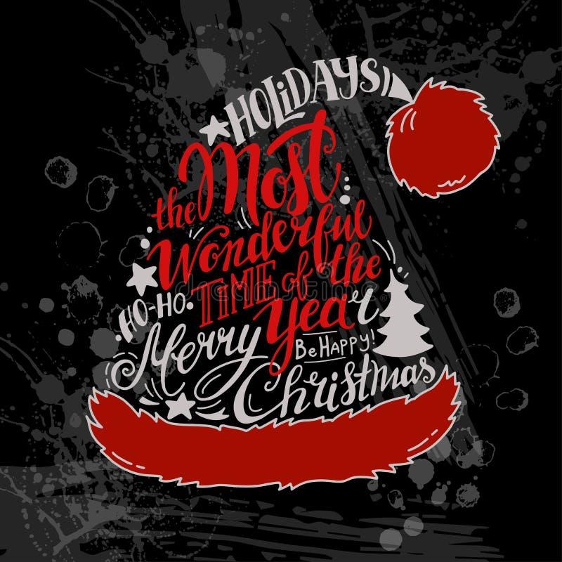 De vectorillustratie van de de Wintervakantie Kerstmissilhouet Santa Hat met groet het van letters voorzien royalty-vrije illustratie