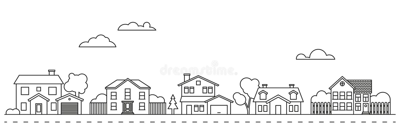 De vectorillustratie van de dorpsbuurt stock illustratie
