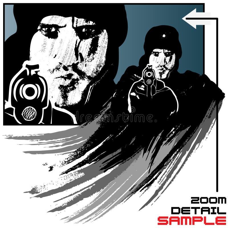 De vectorillustratie van de gewapende gangster in grungestijl royalty-vrije illustratie