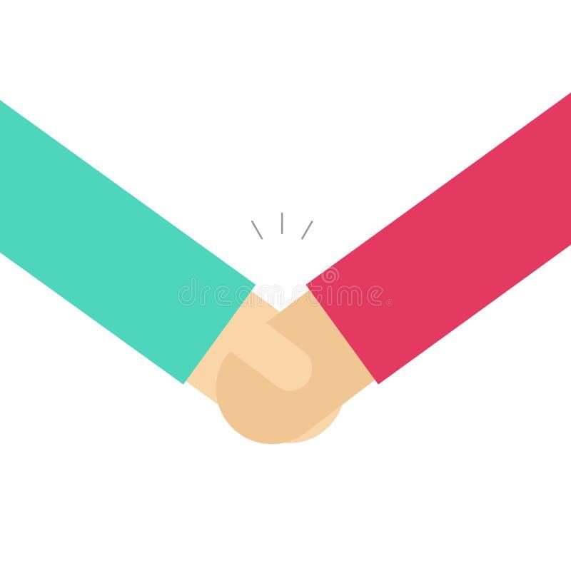 De vectorillustratie van de handschok, vlakke eenvoudige het beeldverhaalstijl van het handdrukpictogram, het idee van de overeen royalty-vrije illustratie