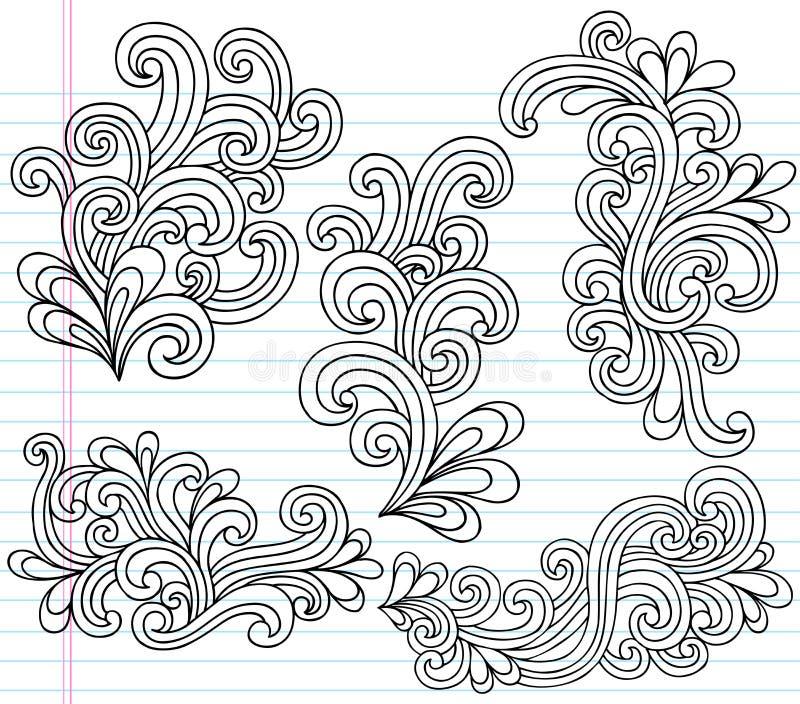 De VectorIllustratie van de Krabbels van het Notitieboekje van Swirly