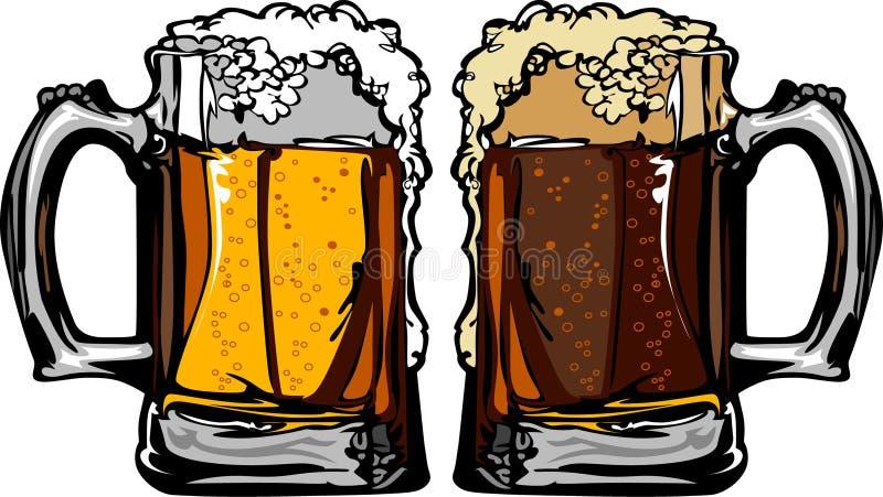 De VectorIllustratie van de Mokken van het bier of van het Bier van de Wortel vector illustratie