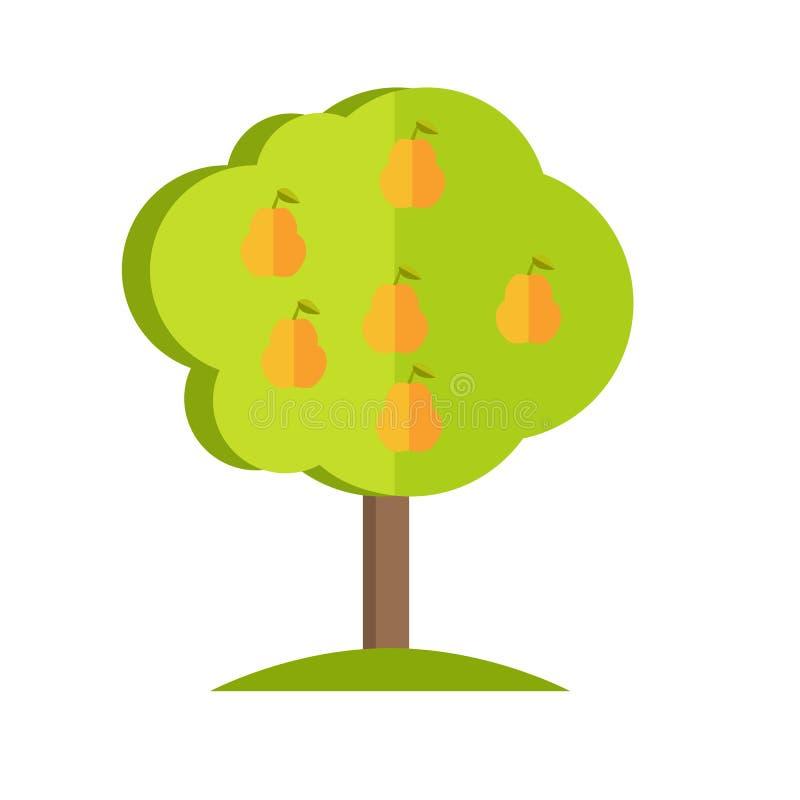 De vectorillustratie van de perenboom in vlak stijlontwerp vector illustratie
