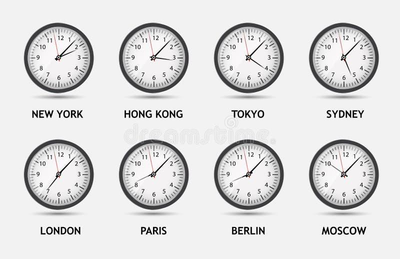 De vectorillustratie van de tijdzonewereld royalty-vrije illustratie