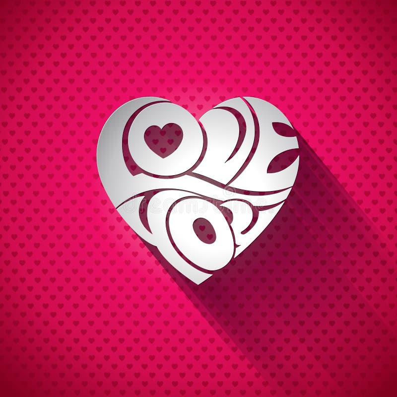 De vectorillustratie van de Valentijnskaartendag met 3d Liefde u typografieontwerp op hartachtergrond royalty-vrije illustratie