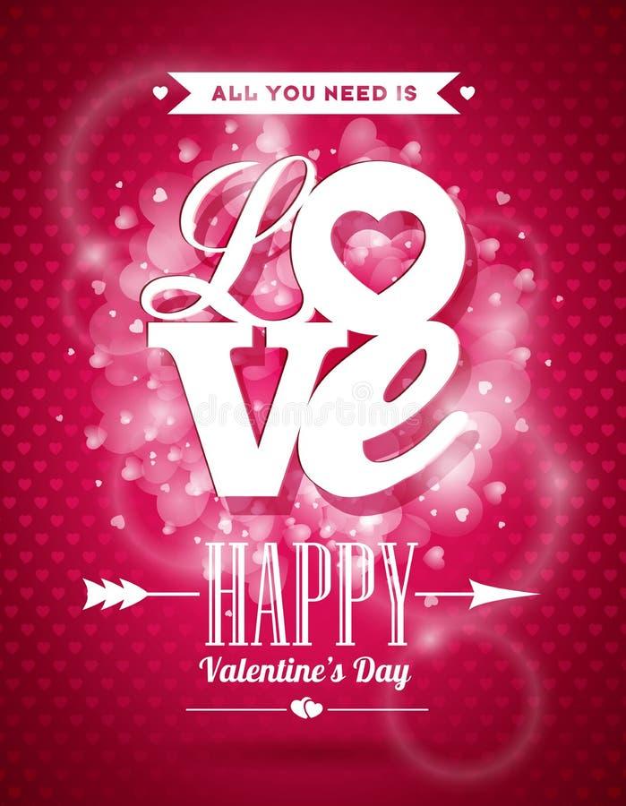 De vectorillustratie van de Valentijnskaartendag met het ontwerp van de Liefdetypografie op glanzende achtergrond stock illustratie