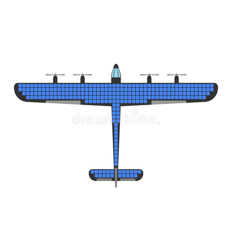 De vectorillustratie van de vliegtuig zonne-energie vector illustratie