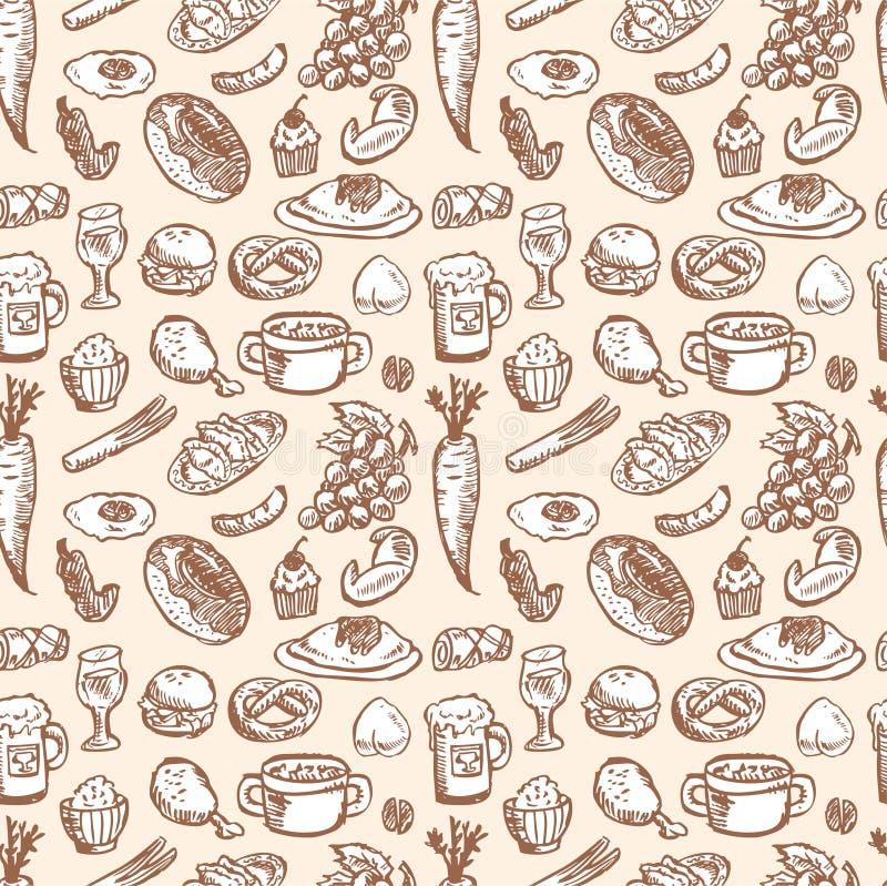 De VectorIllustratie van de voorraad: naadloos voedselpatroon royalty-vrije illustratie