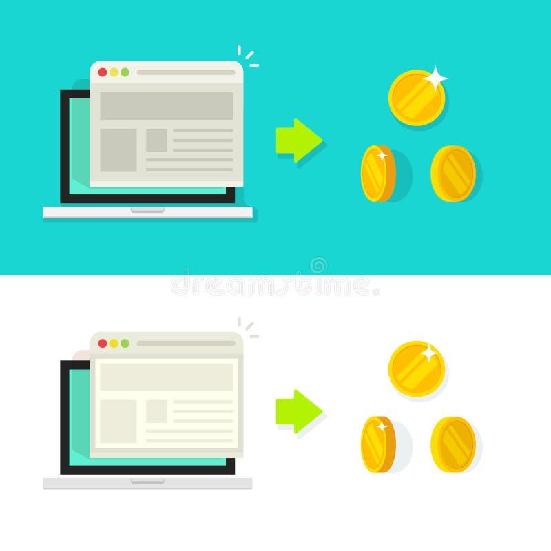 De vectorillustratie van de websiteomzetting, het concept van het tariefinkomen, optimalisering, reclame vector illustratie